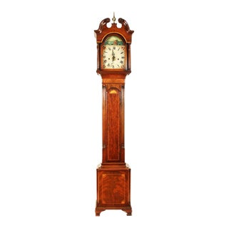 Federal Style Grandmother's Clock with Sailing Ship Motif For Sale