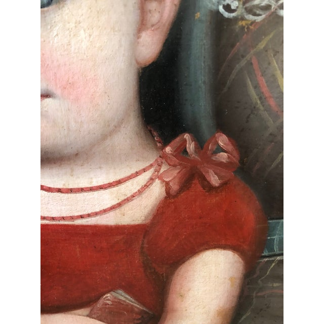 Early 19th Century 1820s American Mother and Child Portrait Painting in Maple Frame For Sale - Image 5 of 11