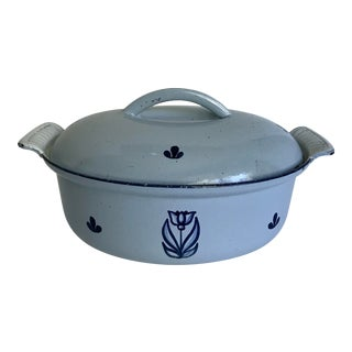 Vintage Holland Blue Cast Iron Dutch Oven With Tulip Design For Sale