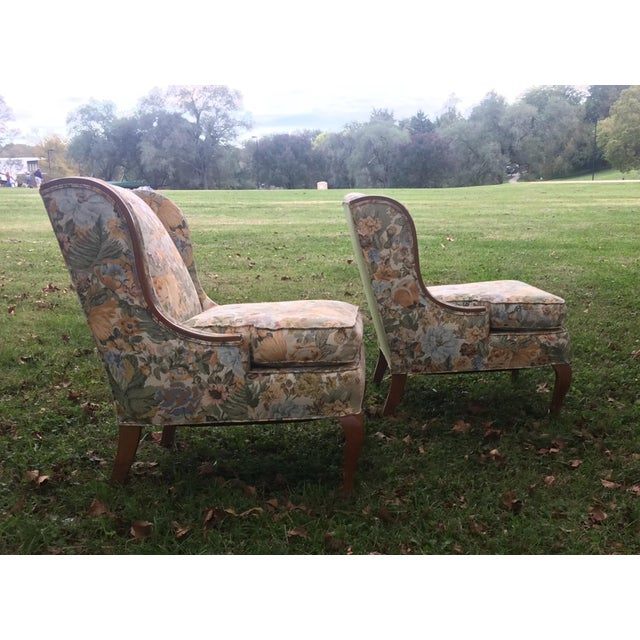 Vintage Winged Slipped Chairs in Floral - Pair - Image 6 of 9