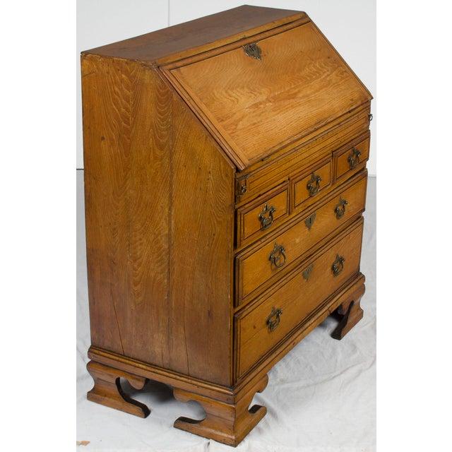 Brown 19th Century Victorian Period Light Oak Slant Front Bureau Secretary Desk For Sale - Image 8 of 13