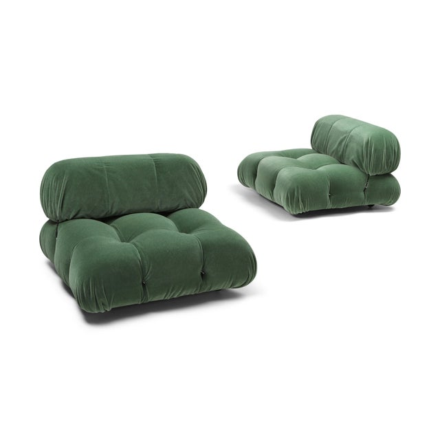 Camaleonda lounge chairs, Mario Bellini, green mohair by Pierre Frey. We could also upholster or reupholster more modular...