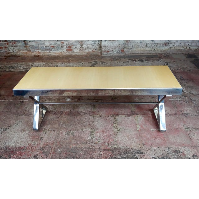 "Beautiful Designer Chrome Coffee Table with Lacquered wooden top size 55 x 18 x 21"" A beautiful piece that will add to..."