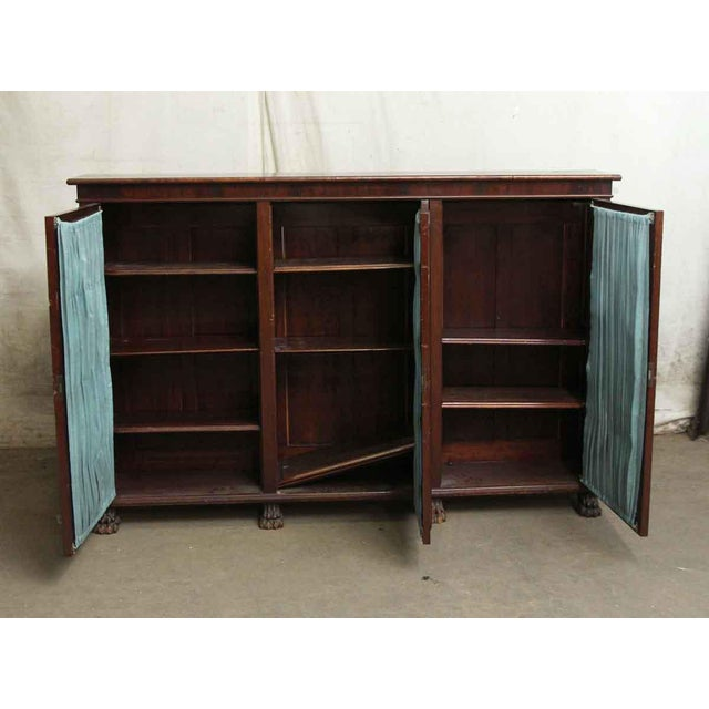 20th Century Traditional Mahogany Claw Foot Breakfront Bookcase With Glass Doors For Sale - Image 4 of 11