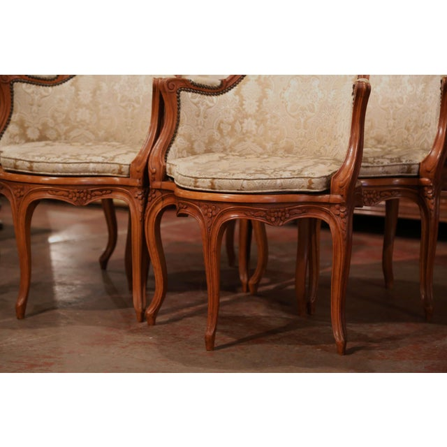 Set of Four Early 20th Century French Louis XV Carved Walnut Desk Armchairs For Sale - Image 4 of 12