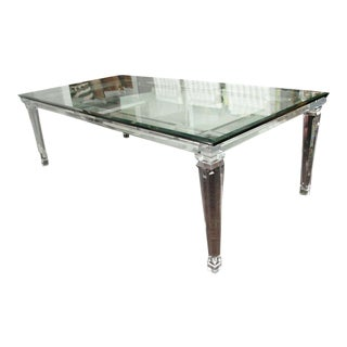 Lucite Dining Table with Banded Legs and Glass Top For Sale