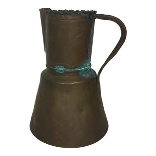 Late 19th Century Antique Large Copper Highly Decorative Pitcher For Sale