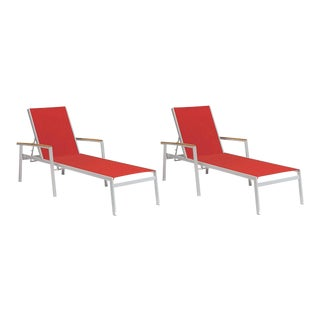 Outdoor Sling Chaise Lounge, Natural and Red (Set of 2) For Sale