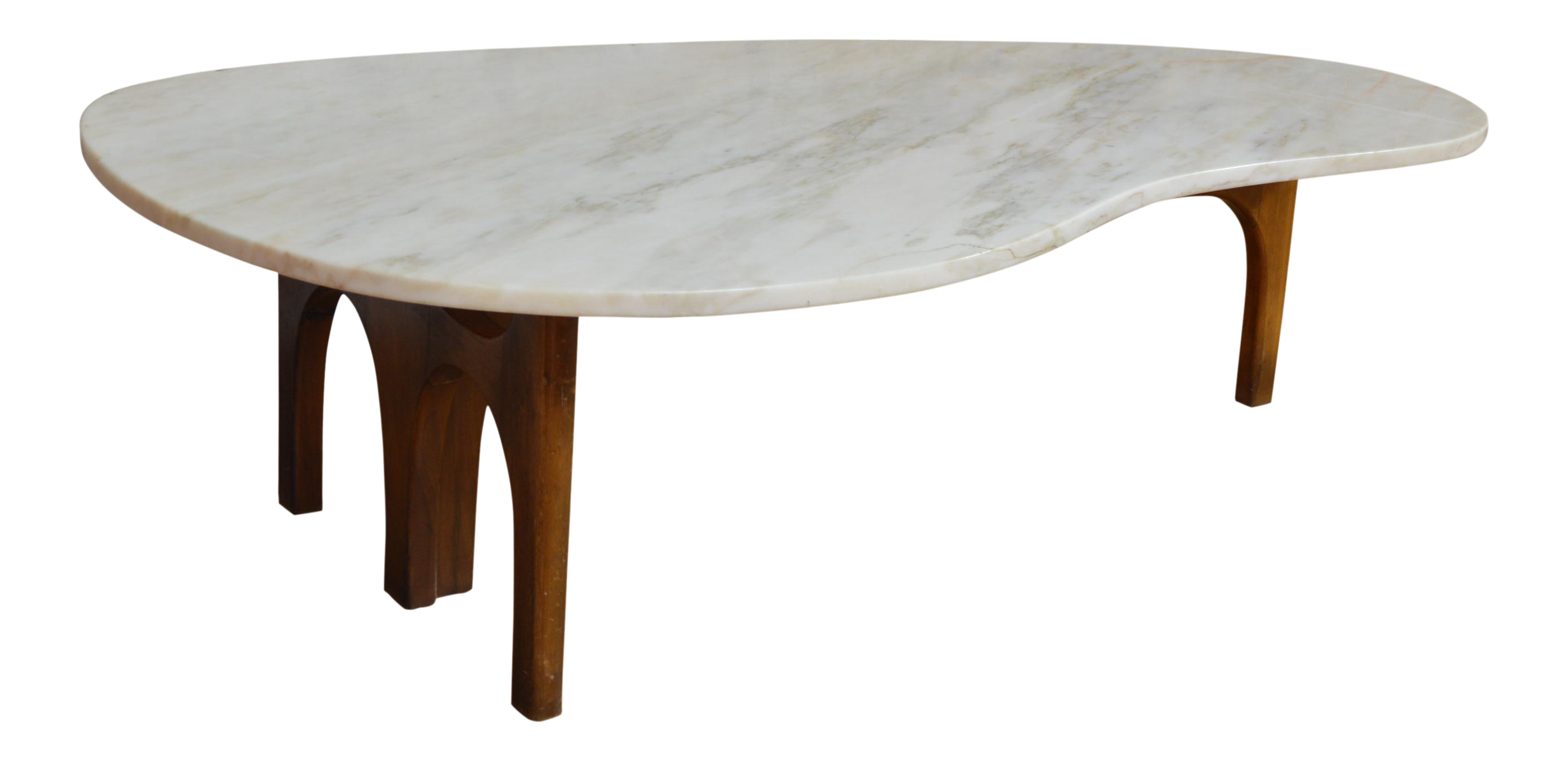 Unique Harvey Probber Style Mid Century Modern Marble And Walnut Kidney  Shaped Coffee Table