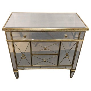 Mirrored Hollywood Regency Style Large Nightstand or Commode For Sale