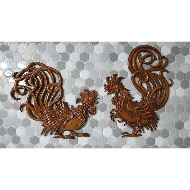 1960s Vintage Fighting Roosters Wall Decor- A Pair For Sale - Image 11 of 11