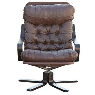 Westnofa Scandinavian Rosewood & Leather Lounge Chair For Sale