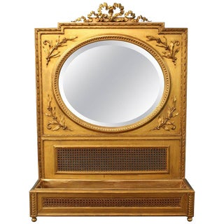 French Victorian Gilded Round Mirror With Planter For Sale