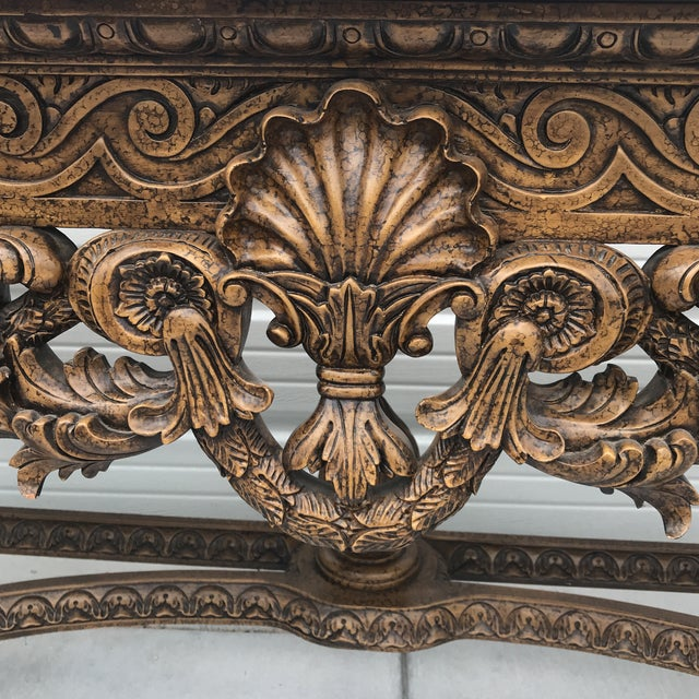 French Country Maitland Smith Leather Top Console Table For Sale - Image 3 of 13