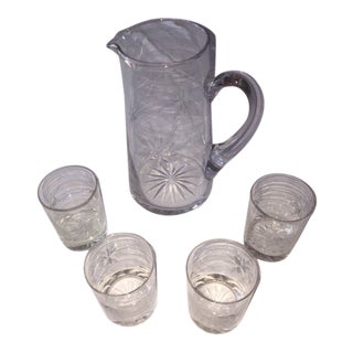 Cut Glass Pitcher with 4 Low Ball Glasses For Sale