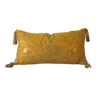 Fortuny Gold Embellished Pillow with Fringe For Sale