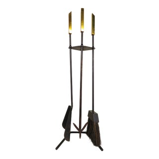 Vintage Mid Century Modernist Brass & Iron Fireplace Tools Set- 4 Pieces For Sale