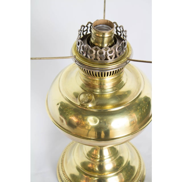 Metal Restored Antique Brass Rayo Oil Lamp, Electrified For Sale - Image 7 of 8