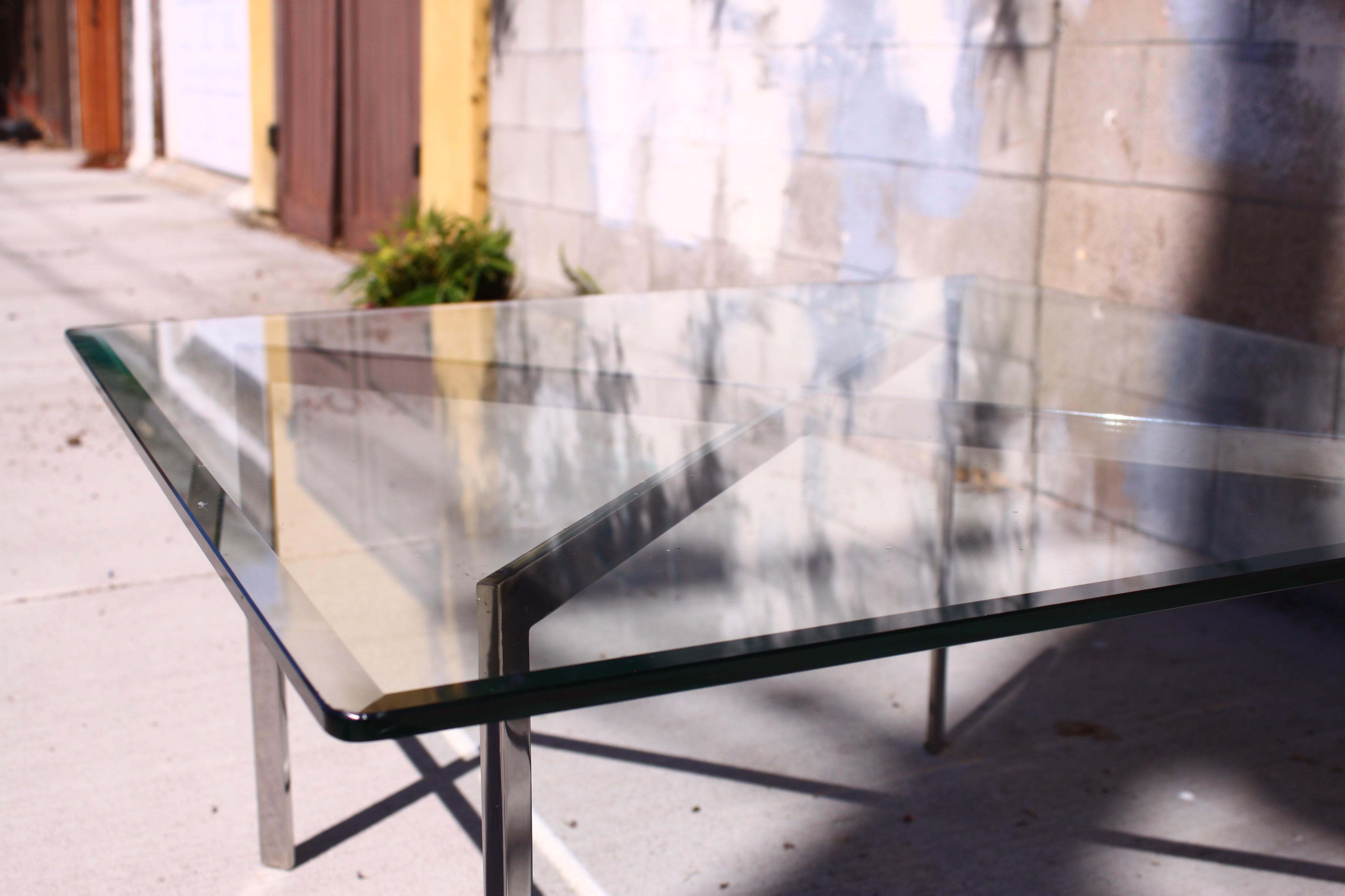 Mies Van Der Rohe Style Vintage Barcelona Coffee Table   Image 6 Of 10