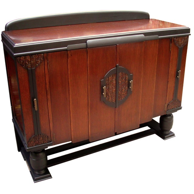 Early 20th-C. Oak & Black-Painted Liquor Cabinet - Image 1 of 11