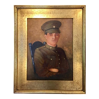 Army Portrait Painting in Gilded Frame For Sale