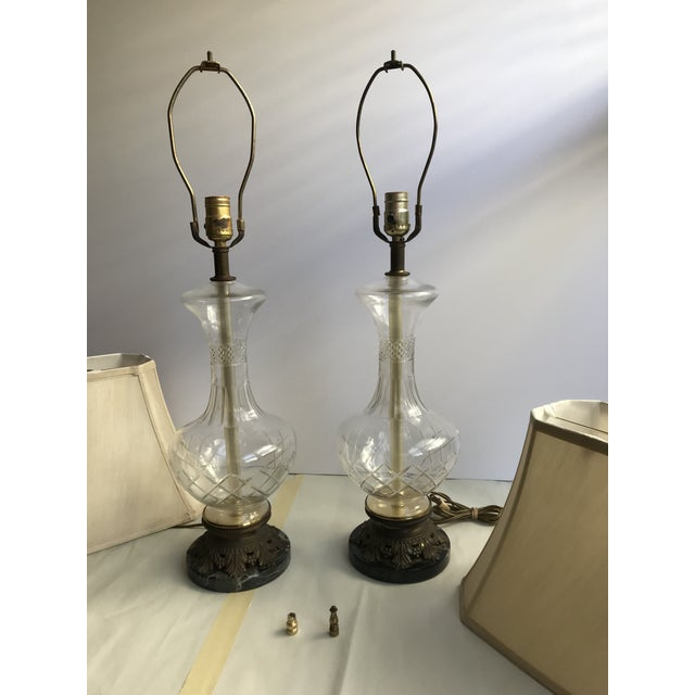 Bronze 1900s Victorian Glass Table Lamps with Marble and Bronze Base - a Pair For Sale - Image 7 of 11