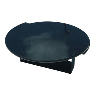 Minimalist Black Faux Marble Swivel Table For Sale