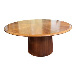Mid Century Modern Custom Round Walnut Dining Table With Conical Base For Sale