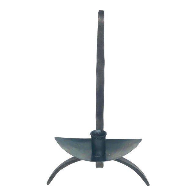 Early 20th Century Hand-Forged Iron Candle Holder For Sale