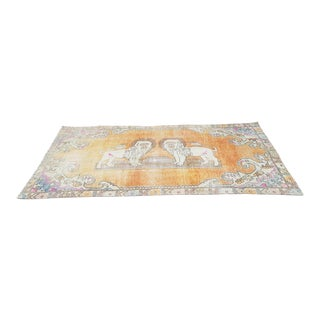 1960s Antique Pastel Turkish Oushak Oriental Rug- 4′2″ × 7′4″ For Sale