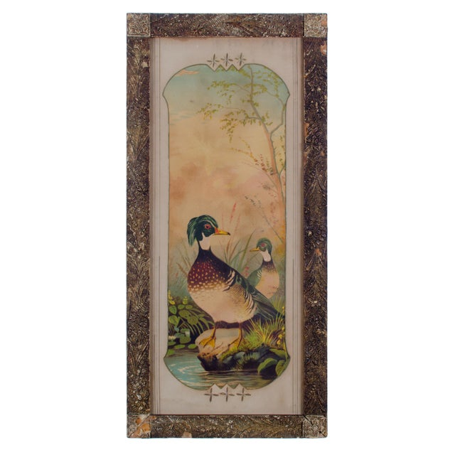 Glass Victorian Duck Chromolithograph Print For Sale - Image 7 of 7