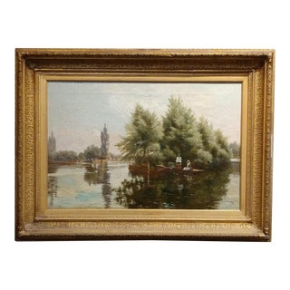Theodore Hines - Lovers Boating on the Thames-19th century Oil Painting