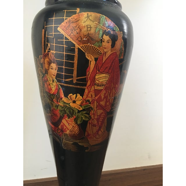 Pair of Large Chinoiserie Style Urns or Vases on Pedestals of Glazed Terracotta - Image 6 of 8