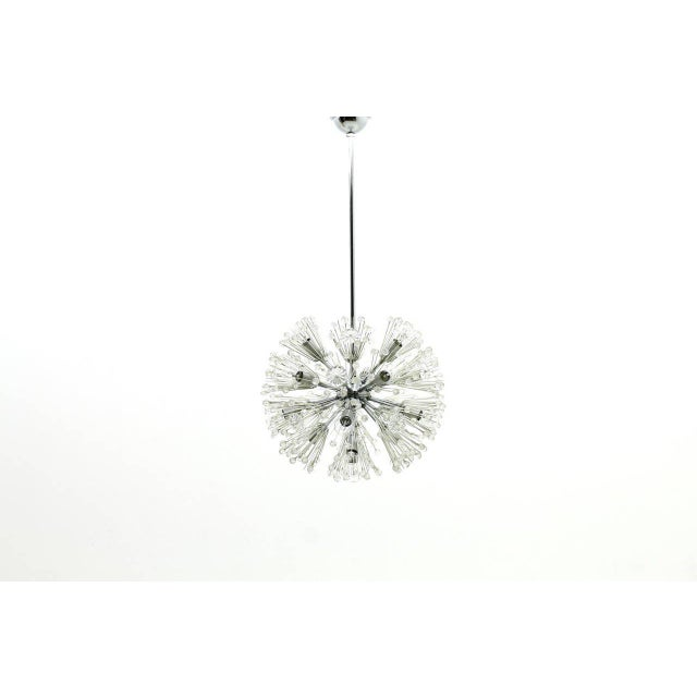 Beautiful Emil Stejnar chandelier snowball in glass and chrome. Measures: Diameter 45 cm. This chandelier needs 17 bulbs...