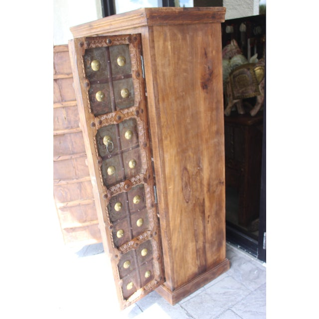 Anglo-Indian Antique Indian Solid Hand Carved Wood and Iron Clad Armoire For Sale - Image 3 of 9