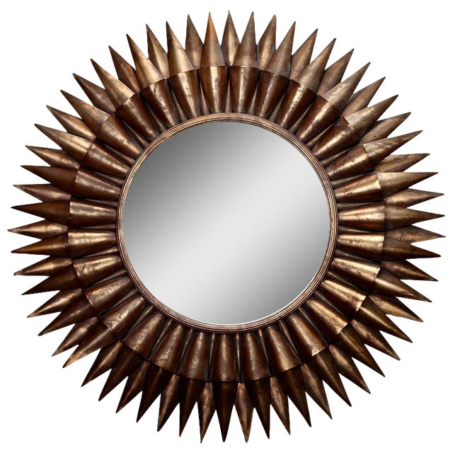 Large Mid-Century Spanish Gilt Sunburst Mirror - Image 1 of 5
