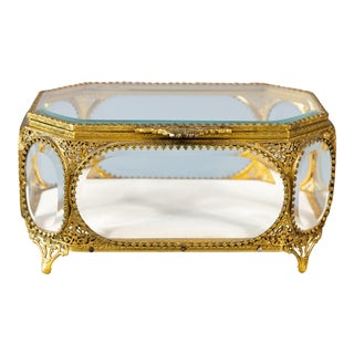 Large Antique French Ormolu Beveled Glass Jewelry Box For Sale