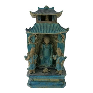 17th Century Vintage Chinese Turquoise & Aubergine Glaze Zhenwu Statue For Sale