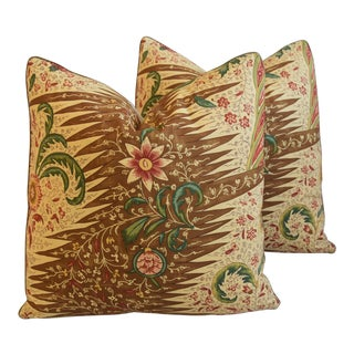 "French Pierre Frey La Riviere Feather/Down Pillows 21"" Square - Pair For Sale"