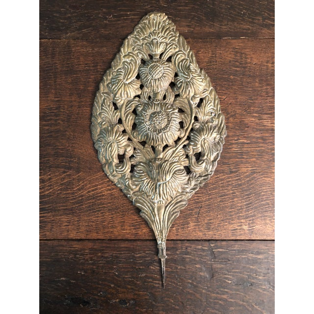 Pair of antique early 18th Century Baroque Repousse Dutch brass sconce backplates. These would have mounted into carved...