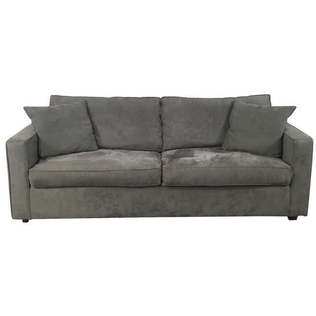 Room & Board Charcoal Suede Sofa - Image 1 of 11