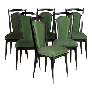 Set of Six Italian Ebonized Framed Dining Chairs 1950s For Sale