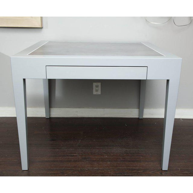 Gray Metallic Grey Leather and Lacquer Game Table For Sale - Image 8 of 8