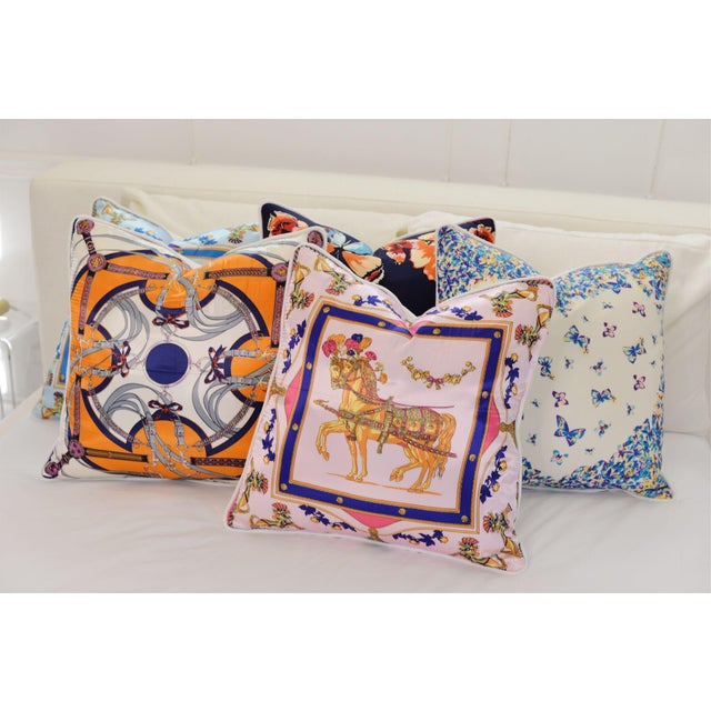 English Traditional Blue Equestrian Silk Pillow For Sale - Image 3 of 4