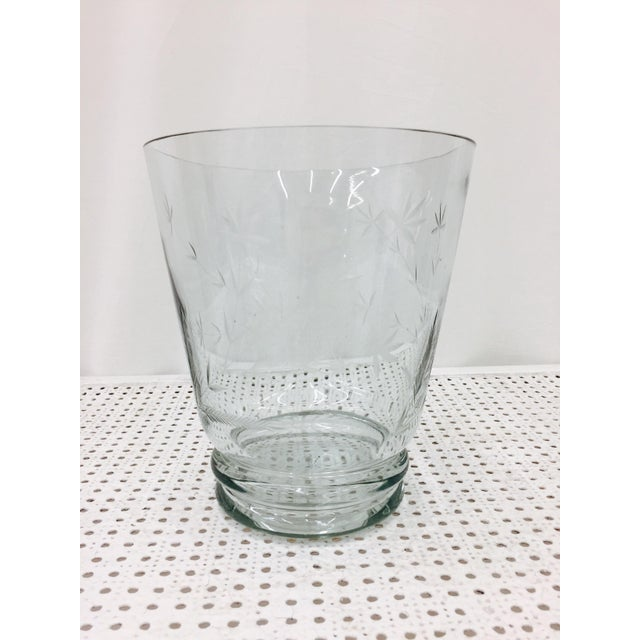 Large Etched Glass Vase For Sale - Image 5 of 10