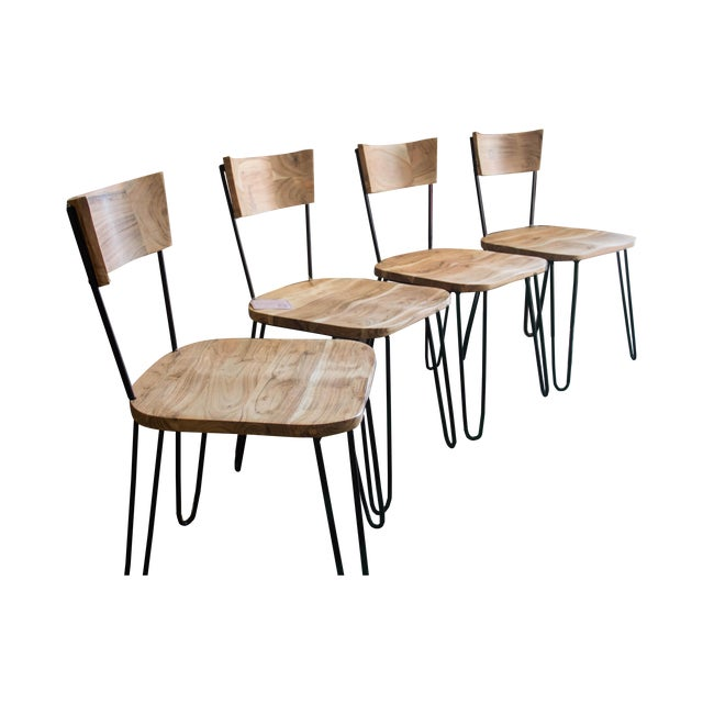 Handcrafted Acacia Wood & Iron Chairs - Set of 4 - Image 1 of 7