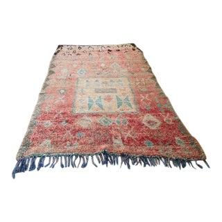 "Vintage Boujadi Moroccan Tribal Rug - 5'4"" X 9'4"" For Sale"
