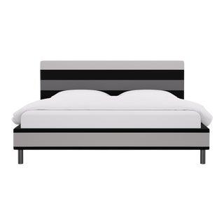 King Tailored Platform Bed in Grey Color Block Stripe For Sale