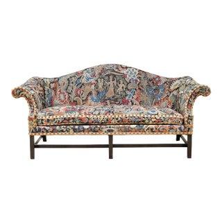 George III Style Mahogany and Needlepoint Sofa For Sale