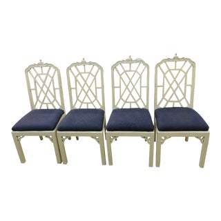 Chinoiserie Pagoda Fretwork Chairs - Set of 4